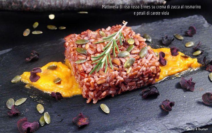 Mattonella di riso rosso su crema di zucca al rosmarino e petali di carote viola http://www.senzaebuono.it/mattonella-di-riso-rosso-su-crema-di-zucca-vegan/