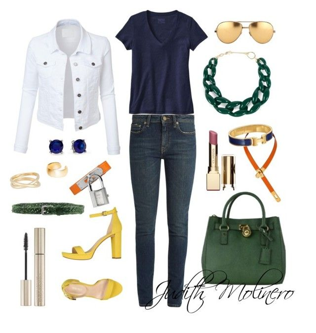 """""""Yellow and green"""" by judith-molinero-fashion on Polyvore featuring Nine West, Yves Saint Laurent, DIANA BROUSSARD, Michael Kors, Hermès, LE3NO, Patagonia, Pim + Larkin, Linda Farrow and Clarins"""