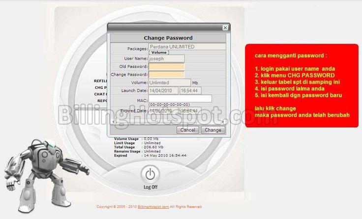 Cara ganti password di login Billing Hotspot