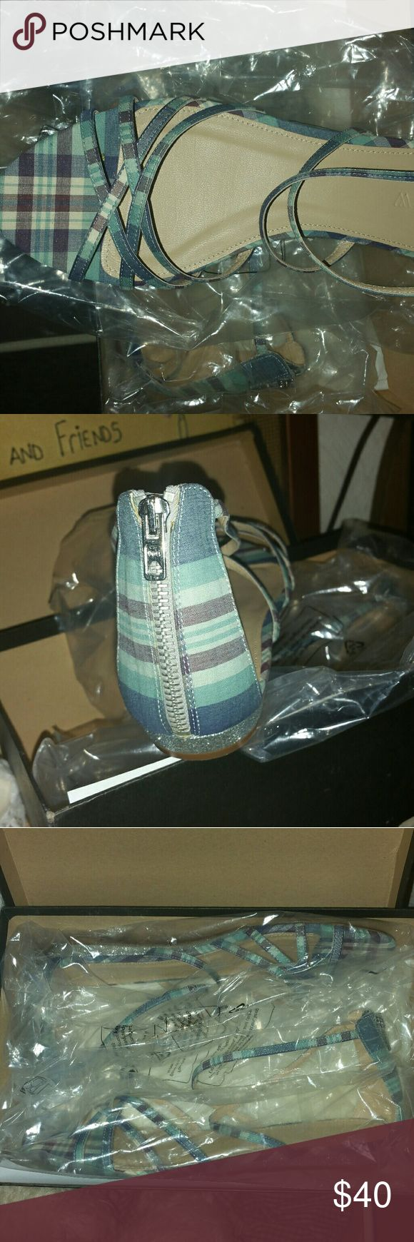 J. Crew Sandals Seafoam multi color, zips up the back,  i love these shoes bought them last year thinking i would wear them and never did. In the original box still has the plastic around them. J. Crew Shoes Sandals