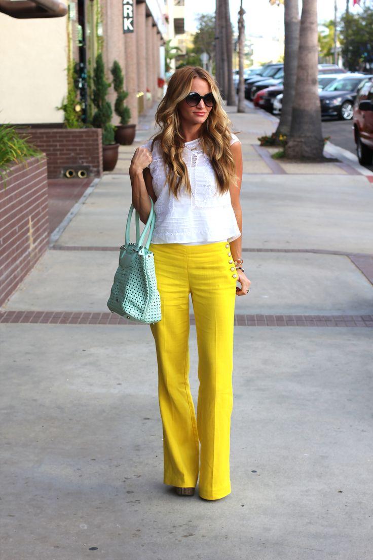 Yellow full leg sailor trousers