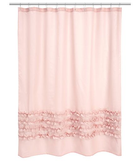 Exceptional Hu0026M Light Pink Shower Curtain. Ruffled ...