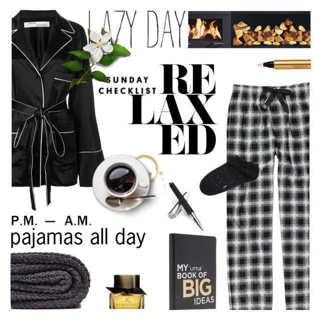 """""""PJs All Day: Lovely Loungewear"""" by lacas ❤ liked on Polyvore featuring Geoffrey Beene, Off-White, Zara Home, Burberry, Yves Saint Laurent, Aspinal of London, Witchery, LazyDay, lazydays and LovelyLoungewear"""