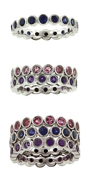 Silver Stackable Eternity Rings - would like them with the kids birthstones