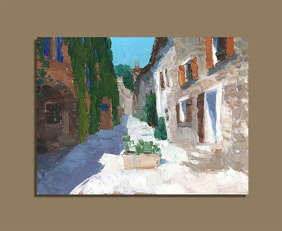 Cityscape France Provence Original Oil Painting Palette Knife
