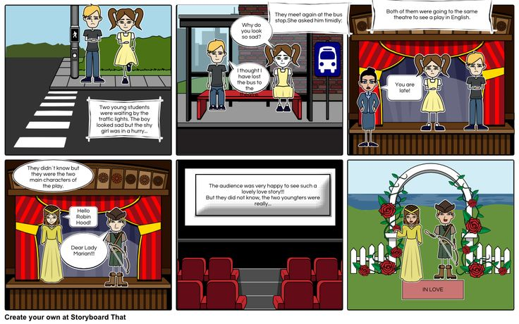 This is a storyboard done with Storyboard that, a simple tool that requires registration and is free to create two storyboards per week.