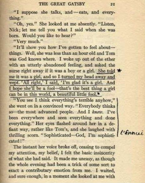 Sylvia Plath's  annotated page of F. Scott Fitzgerald's The Great Gatsby .. i die a little