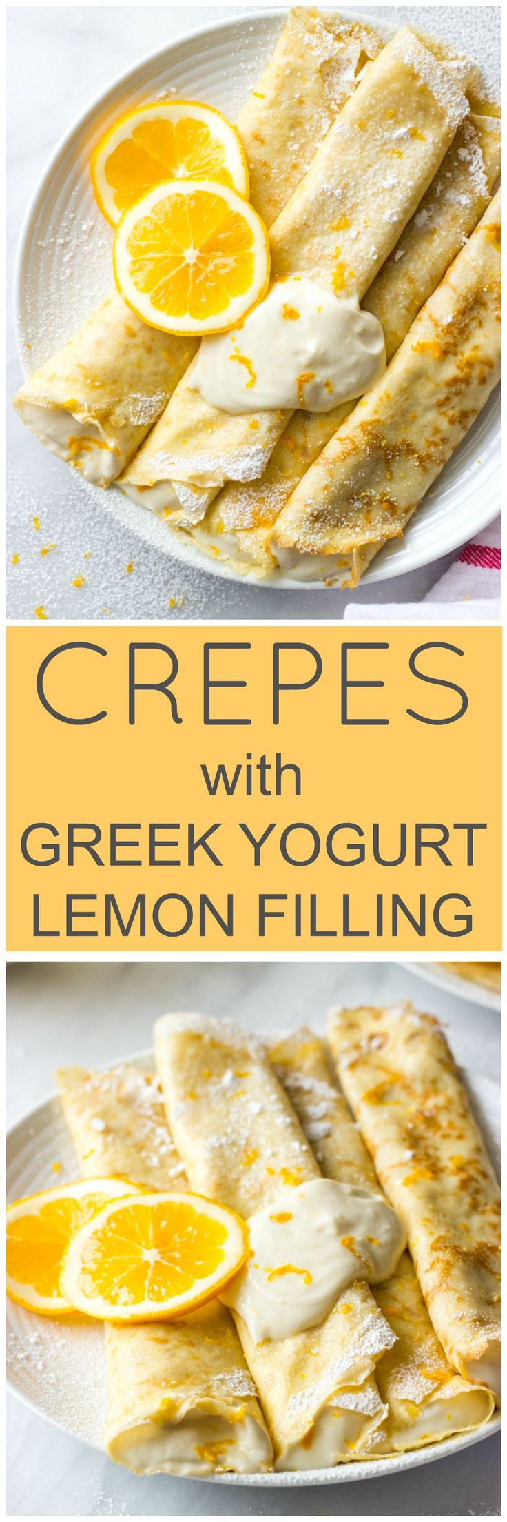 Blender Crepes with Greek Yogurt Lemon Filling - honey sweetened crepes made in a blender and served with healthy greek yogurt lemon filling | littlebroken.com @littlebroken