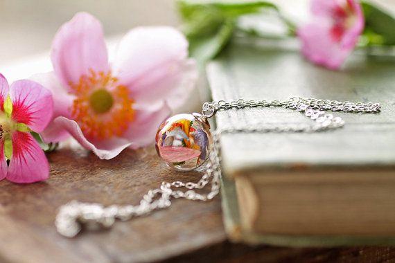 Irish wildflower necklace , real plant pendant, 925 Sterling silver , Irish jewellery , miniature terrarium , glass bottle, living locket