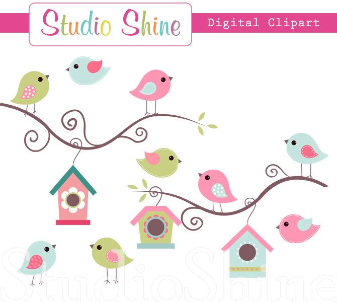 Digital Clipart - Cute Birds Home Tweet Home - Clip art for scrapbooking, party invitations, Personal and Small Commercial Use. $5.00, via Etsy.