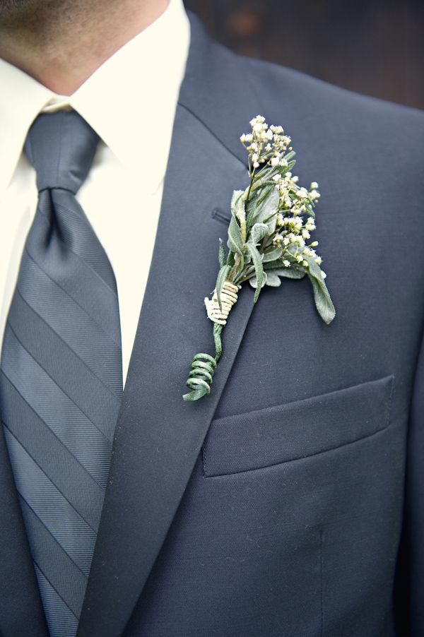 Elegant Vintage Themed Wedding grooms white boutonniere