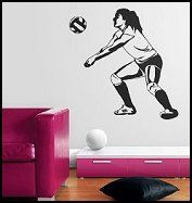 Volleyball Bump Mural Girls Sports Theme Bedroom Wall Decorations
