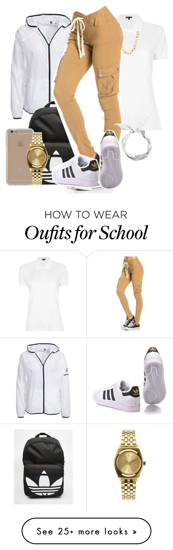 """School flow"" by kitty-ma on Polyvore featuring Ralph Lauren, adidas, Charlotte Russe, adidas Originals, Agent 18 and Nixon"