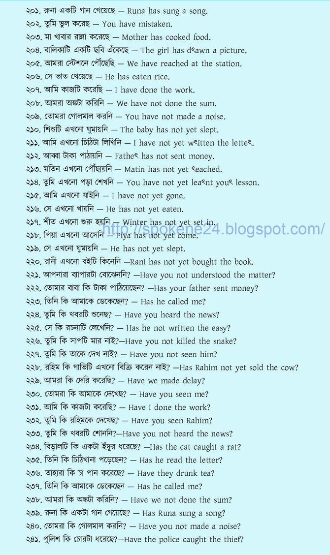Spoken English with Bengali ইংরেজিতে অনর্গল কথা বলতে