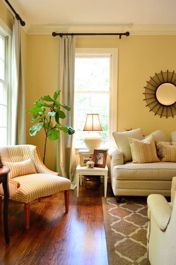 Curtains full of and striped chair on pinterest for Living room yellow walls
