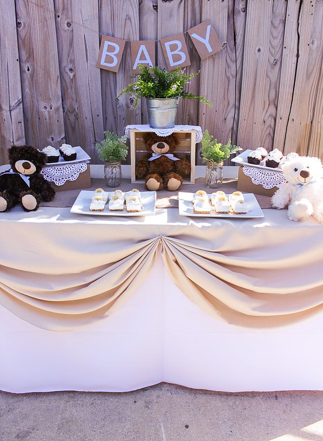 Miami Party Crashers | Rustic Dessert Table | Teddy Bear Baby Shower