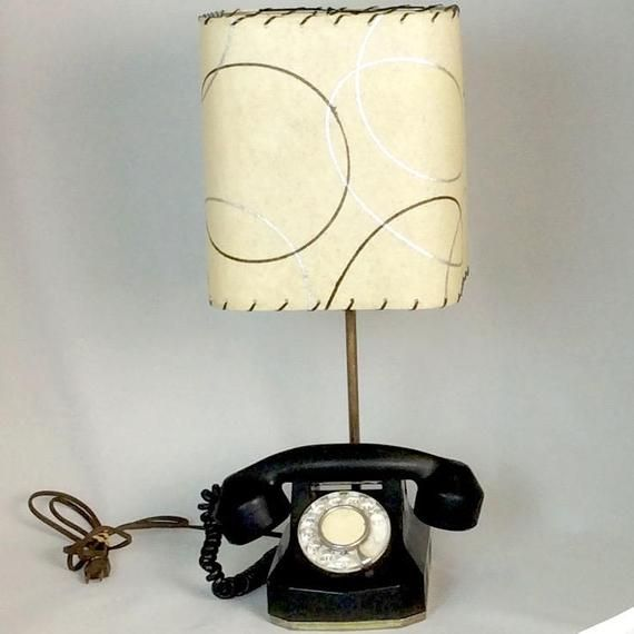 Vintage 1950s Telephone Lamp With Fiberglass Lampshade Etsy Vintage Lighting Lamp Vintage Lamps
