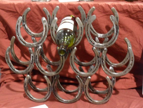 Wine Rack Made From Horseshoes Holds 10 Bottles On Etsy