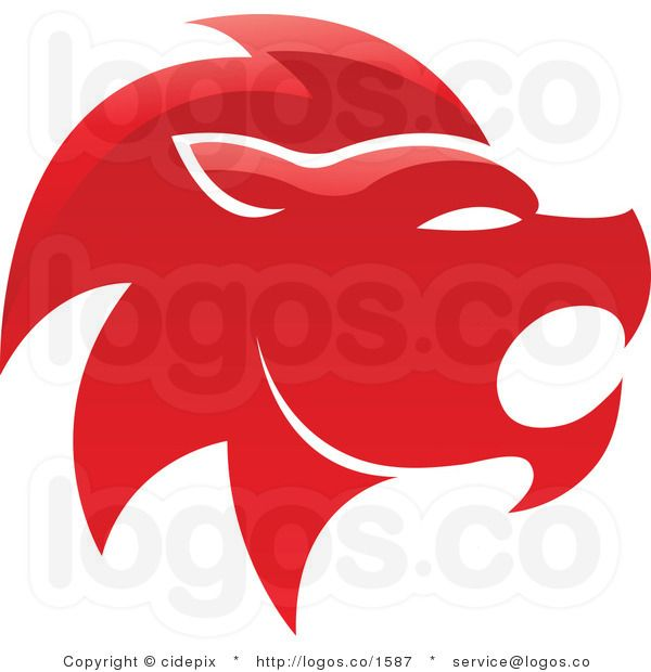 Royalty Free Glossy Red Lion Leo Zodiac Logo