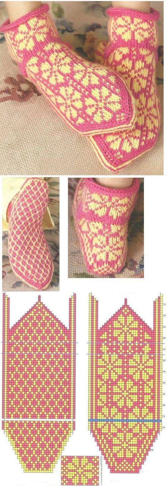 вязание спицами схема носки