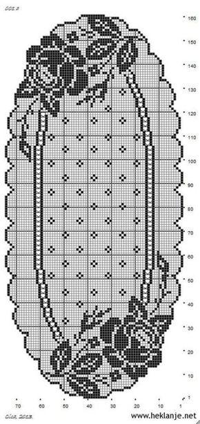 Filethäkeln Tischläufer Rosen -  filet crochet tablerunner roses -