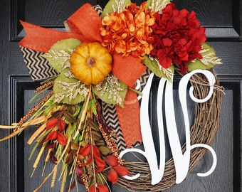 NEW Fall Grapevine Wreath with Burlap. Fall by WreathDreams