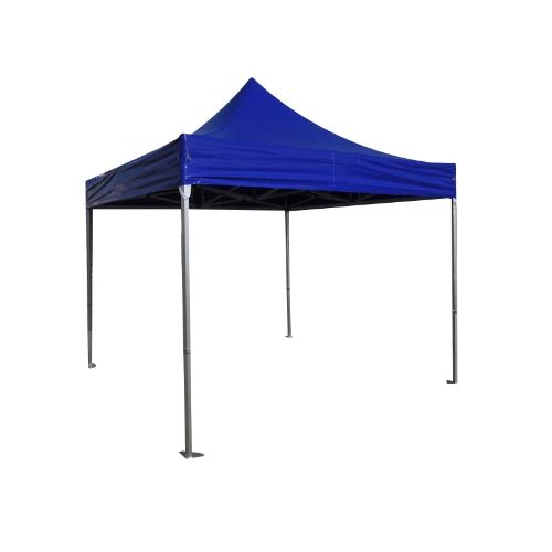 Folding Tent PRO Series 50mm Aluminium Structure in PVC 520g/m2 Tarpaulin 3x3m for Professional Needs or Daily Use Blue
