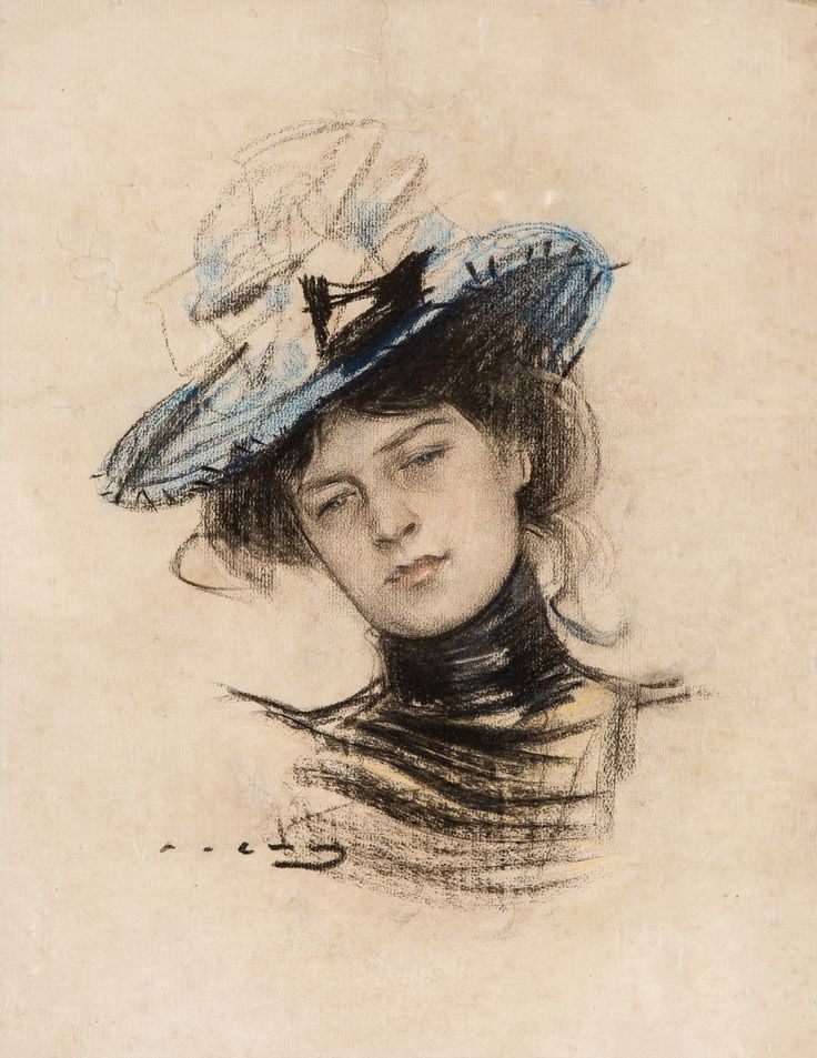 RAMON CASAS I CARBÓ (SPANISH 1866 -1932) Portrait of a Young Lady in a Blue Hat pastel on paper 39 x 30 cm (15 1/4 x 11 7/8 in.) [sight] signed lower left