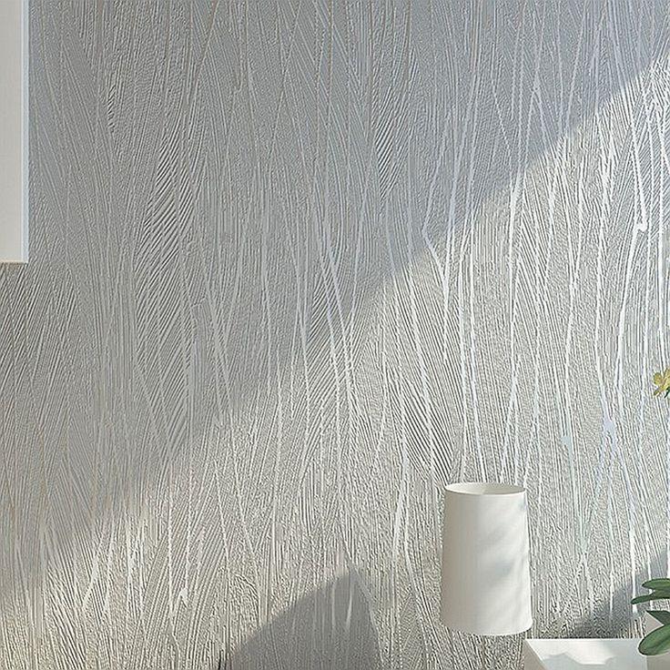 Solid Color Modern Silver Grey Gray Striped Wallpaper