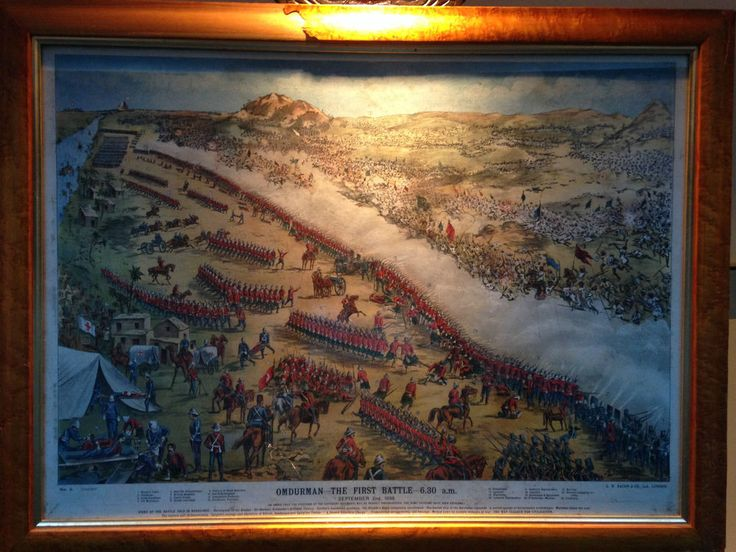 Hand coloured Lithograph- 1st Battle of Omdurman by G.W. Bacon of London, C1900
