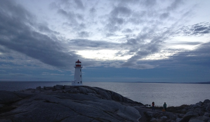 The lighthouse at Peggy's Cove at twilight