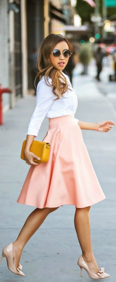 Pink Chic High Waist Skirt with White Top | Spring...