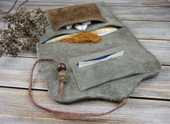 Leder Tabak Drehertasche -Tabakbeutel aus Echtlederresten-Dreherbeutel/Tabaktasche Leder-Grau/Braun