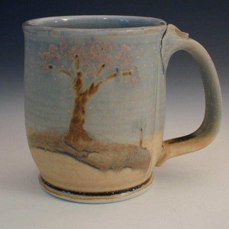 Handmade coffee mug porcelain landscape pottery for Handmade mug designs