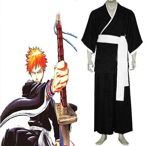 Black Bleach Cosplay Ichigo Kurosaki Soul Reaper Costume   USD$69.09