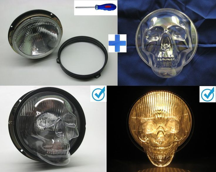 2 skull headlight covers that fit 7in. headlights for cars and trucks #Unbranded
