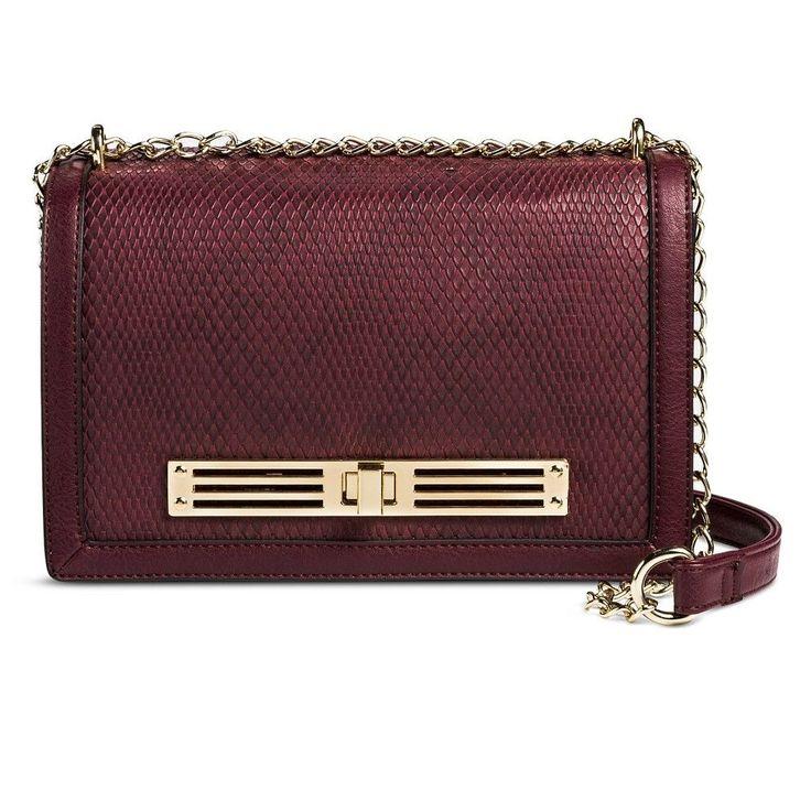 Women's Faux Leather Crossbody Handbag Burgundy - Mossimo Black, Red
