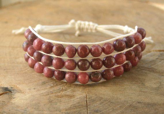 Bracelet Rhodonite handmade adjustable gemstone 3 by TriouZ, £19.95