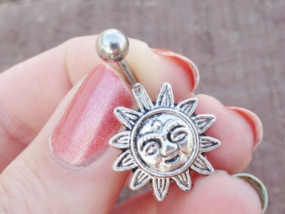 Celestial Sun Silver Belly Button Jewelry Ring by MidnightsMojo, $14.00
