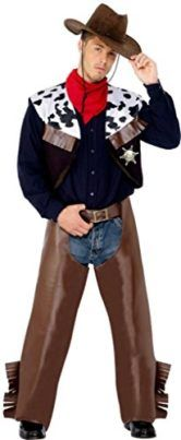 Smiffys Mens Cowboy Costume with Waistcoat Chaps Scarf and Badge Tag someone you think would look good in this! #Cowboy #Halloween #Costume
