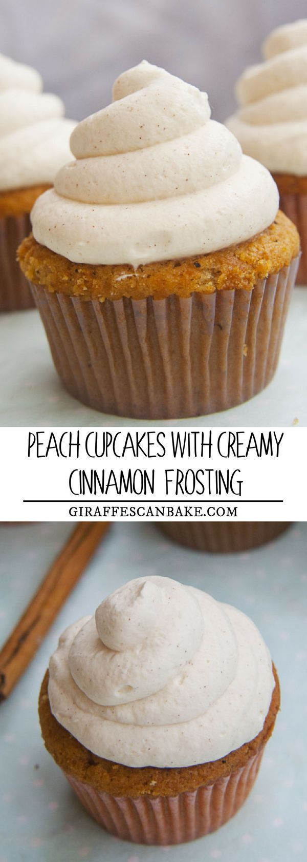 Moist peach cupcakes with a spiced peach filling and a creamy cinnamon frosting - the perfect cupcake for those who usually steer clear of cupcakes due to the sickly sweet frosting! #cupcakes #dessert