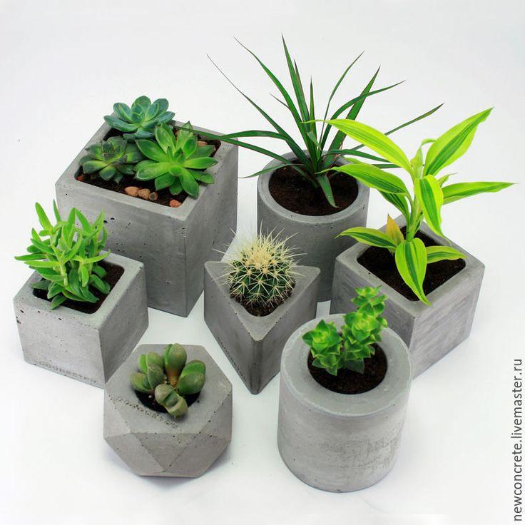 Купить Бетонные горшки( набор из 8 шт) - серый, бетон, горшки, кашпо, лофт, цветы