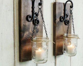 Rustikales Bauernhaus … Einmachglas Wanddekoration … Set von cottagehomedecor   – Mason jar art