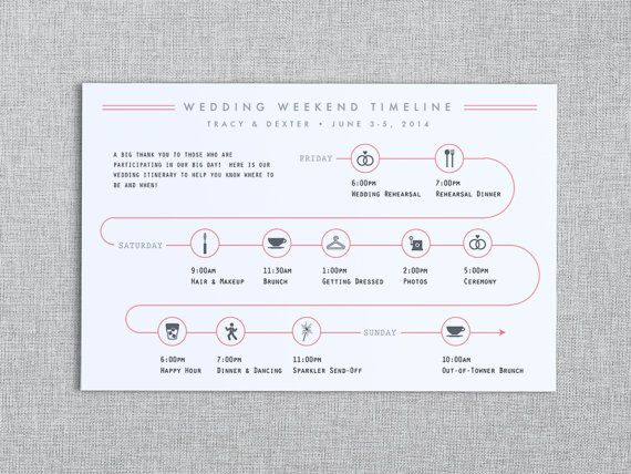 Houd uw gasten op de hoogte van belangrijke bruiloft weekend activiteiten met deze grafische bruiloft tijdlijn! De volledig aanpasbare tijdlijn wordt