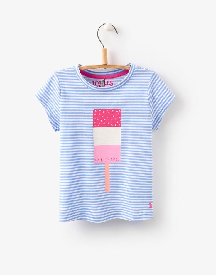 Jnrpixie Lolly Stripe Screen Print Jersey T-Shirt | Joules US