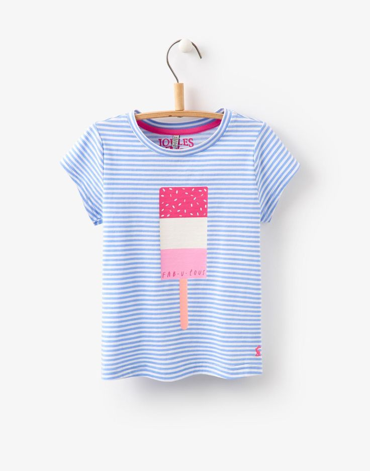 Jnrpixie Lolly Stripe Screen Print Jersey T-Shirt | Joules US