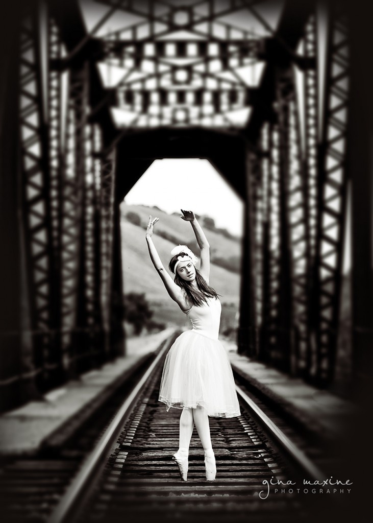 LOVE this contrast of ballet and the railroad and the Untamed Petals headband.