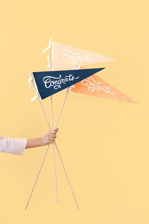 DIY: Screen-Printed Congrats to the Grad! Felt Flags - Class of 2015