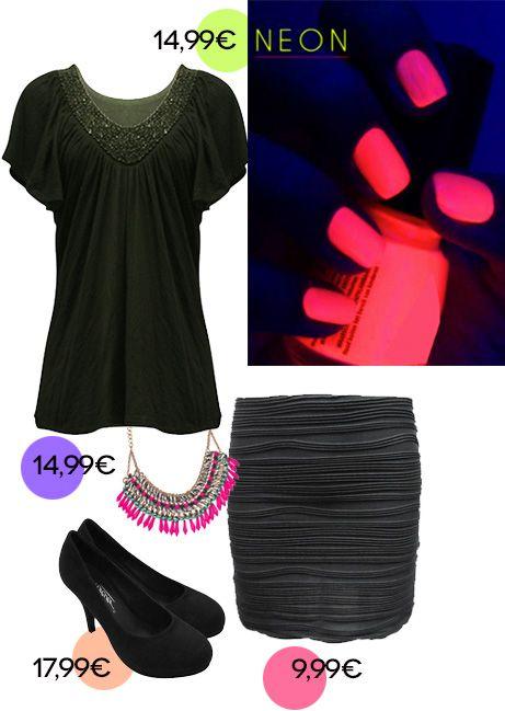 Winter Style muss nicht langweilig sein:) Kombiniere dein kleines schwarzes Party Outfit mit NEON Accessoires und NEON Maniküre!  visit us at mycolloseum.com