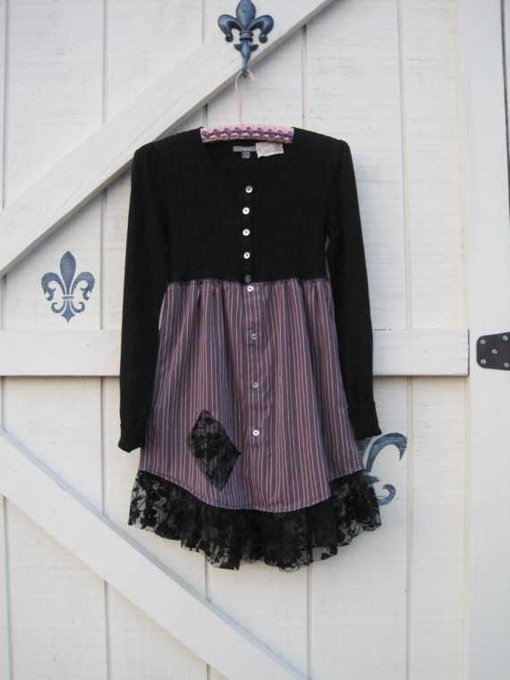 Boho dress mini black tunic Black babydoll dress by ShabyVintage, $48.90